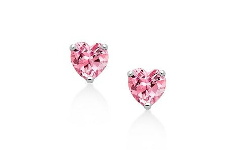 Baby and Children's Earrings:  Sterling Silver, Pink Heart CZ Earrings