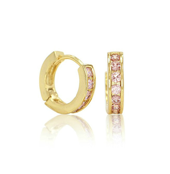 Baby and Children's Earrings:  18k Gold Filled Huggies with Pink CZ