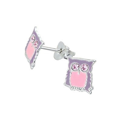 Baby and Children's Earrings:  Sterling Silver/Crystal Owl Earrings