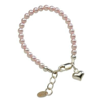 Baby Bracelets:  Sterling Silver Pink Czech Pearl Bracelets with Puffed Heart Charm, for Newborns