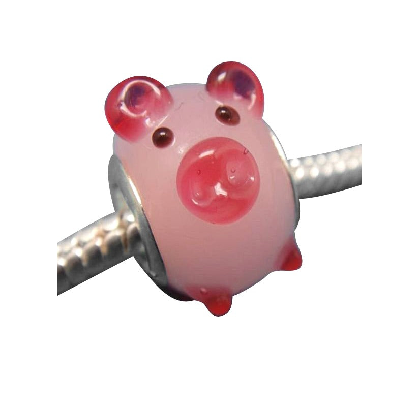 Baby and Children's Beads:  Pink Pig Glass Beads