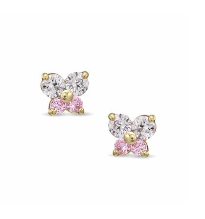 Baby and Children's Earrings:  14K Gold Pink and White CZ Butterfly Earrings with Safety Screw Backs