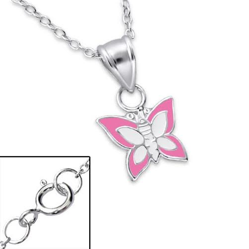 Baby and Children's Necklaces:  Sterling Silver Pink and White Butterfly Necklaces