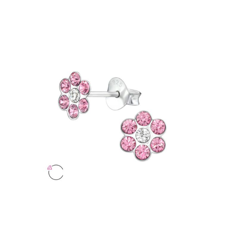 Baby and Children's Earrings:  Sterling Silver Pink/White Crystal Flowers