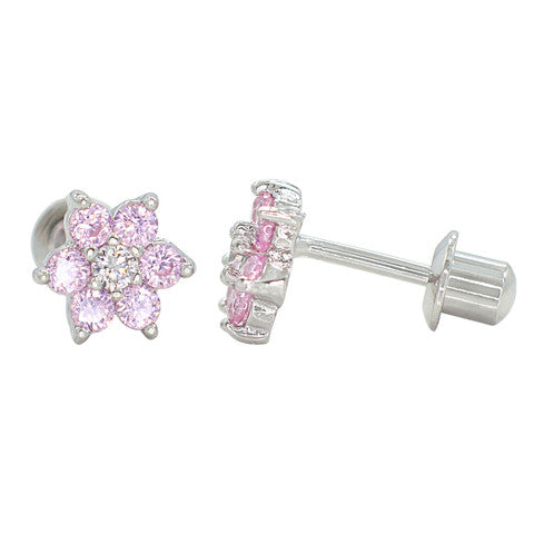 Children's Earrings:  18k White Gold Filled, Pink/White CZ Flowers with Safety Screw Backs