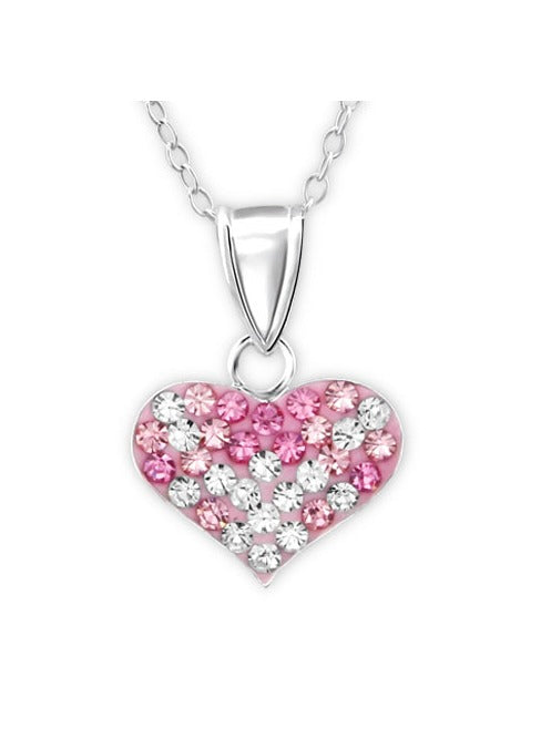 Children's Necklaces:  Sterling Silver Pink and White Crystal Hearts