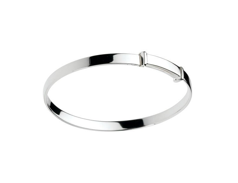 Baby Bangles:  Sterling Silver Polished Adjustable Plain Newborn Bangle with Gift Box