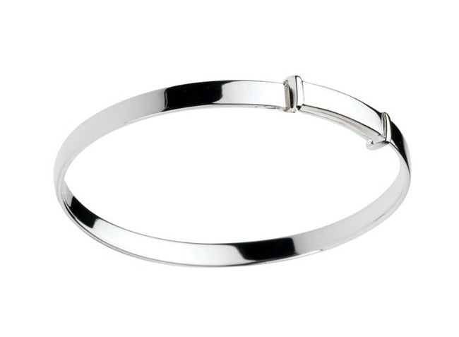 Children's Bangles:  Sterling Silver Polished, Adjustable Plain Bangle 3 - 5 Years