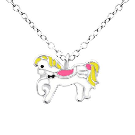 Children's Necklaces:  Sterling Silver Pony Necklace on 35cm Chain