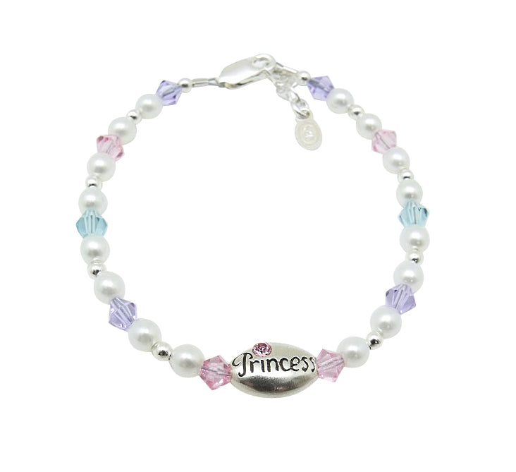 "Children's Bracelets:  Sterling Silver, Czech Pearls and Crystals and ""Princess"" Medallion"