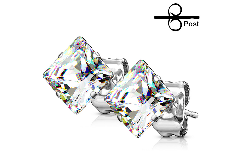 Children's Earrings:  Surgical Steel Princess Cut, AAA Clear CZ Studs 4mm