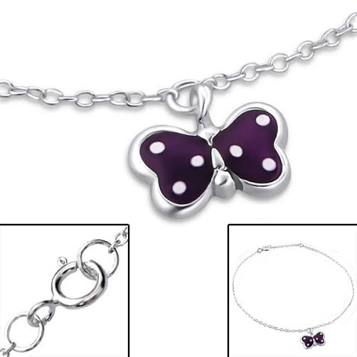 Baby and Children's Bracelets:  Sterling Silver Purple, Dotty, Butterfly Charm