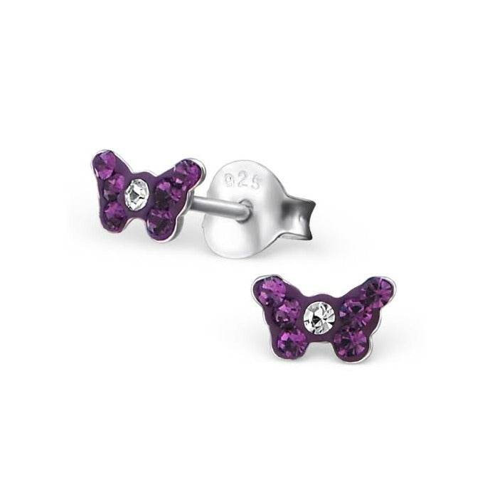 Baby and Children's Earrings:  Tiny Sterling Silver Purple Butterfly Earrings