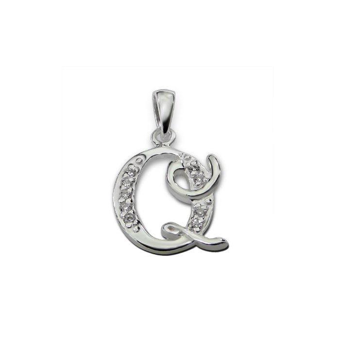 Children's Necklaces:  Sterling Silver, CZ Initial Q on Chain Length of Your Choice