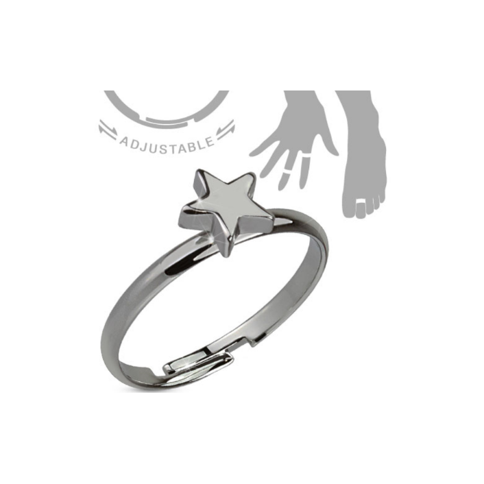 Children's Rings:  Hemitite Plated Surgical Steel Star Adjustable Rings