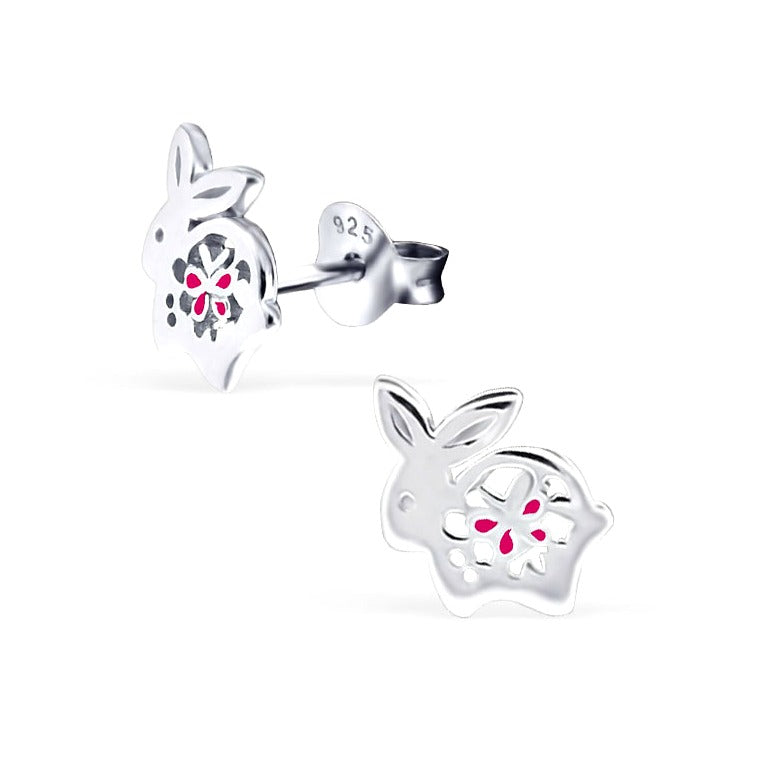 Children's Earrings:  Sterling Silver, Butterfly on Bunny Earrings