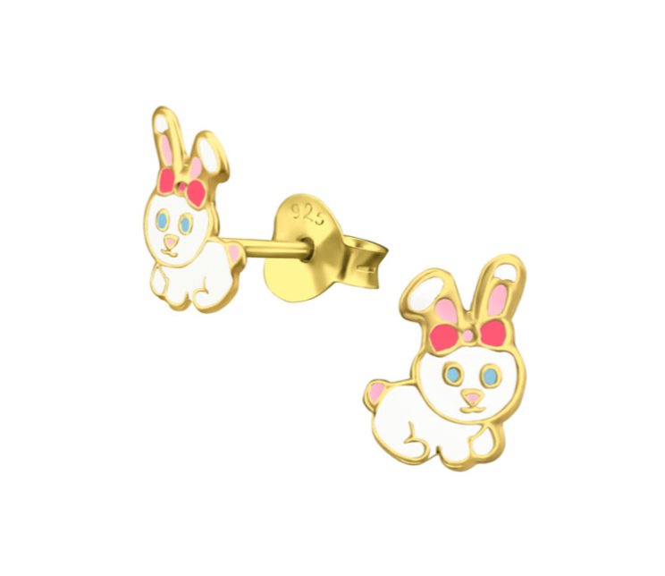 Children's Earrings:  14k Gold over Sterling silver Bunny Rabbit Earrings