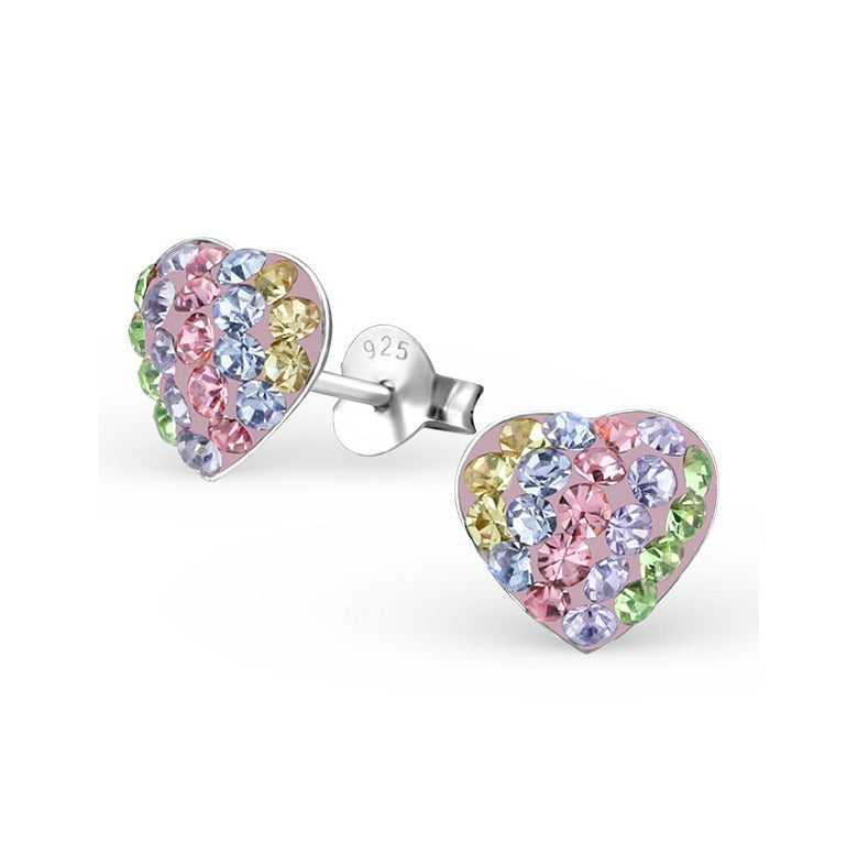 Children's Earrings:  Sterling Silver Rainbow Crystal Hearts