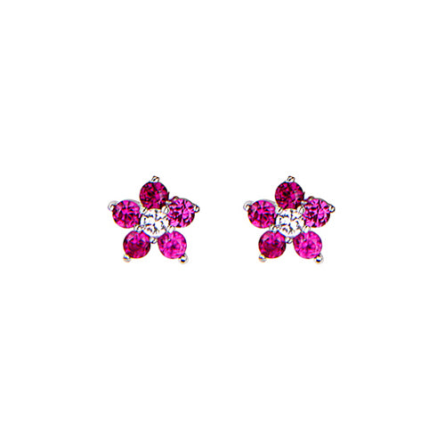 Baby and Children's Earrings:  Sterling Silver Ruby CZ Flowers with Safety Screw Backs