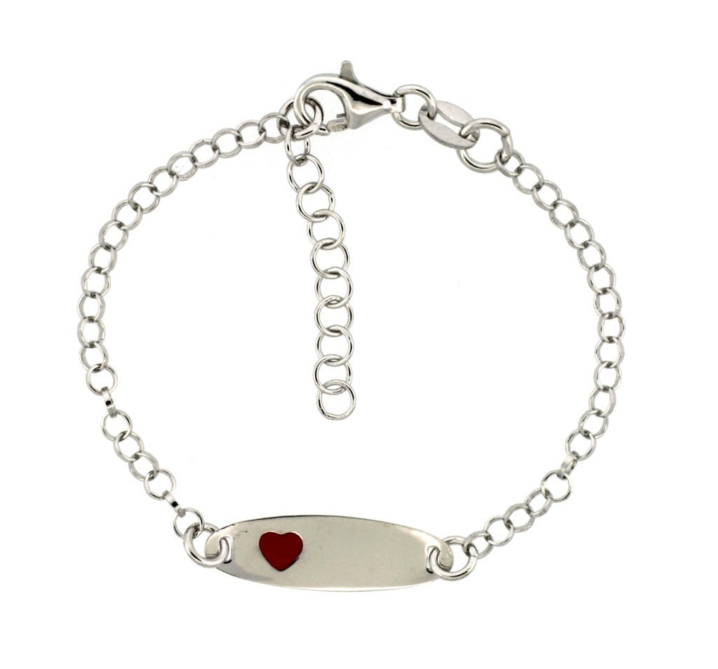 Baby Bracelets:  Sterling Silver Rolo ID Bracelet with Red Heart