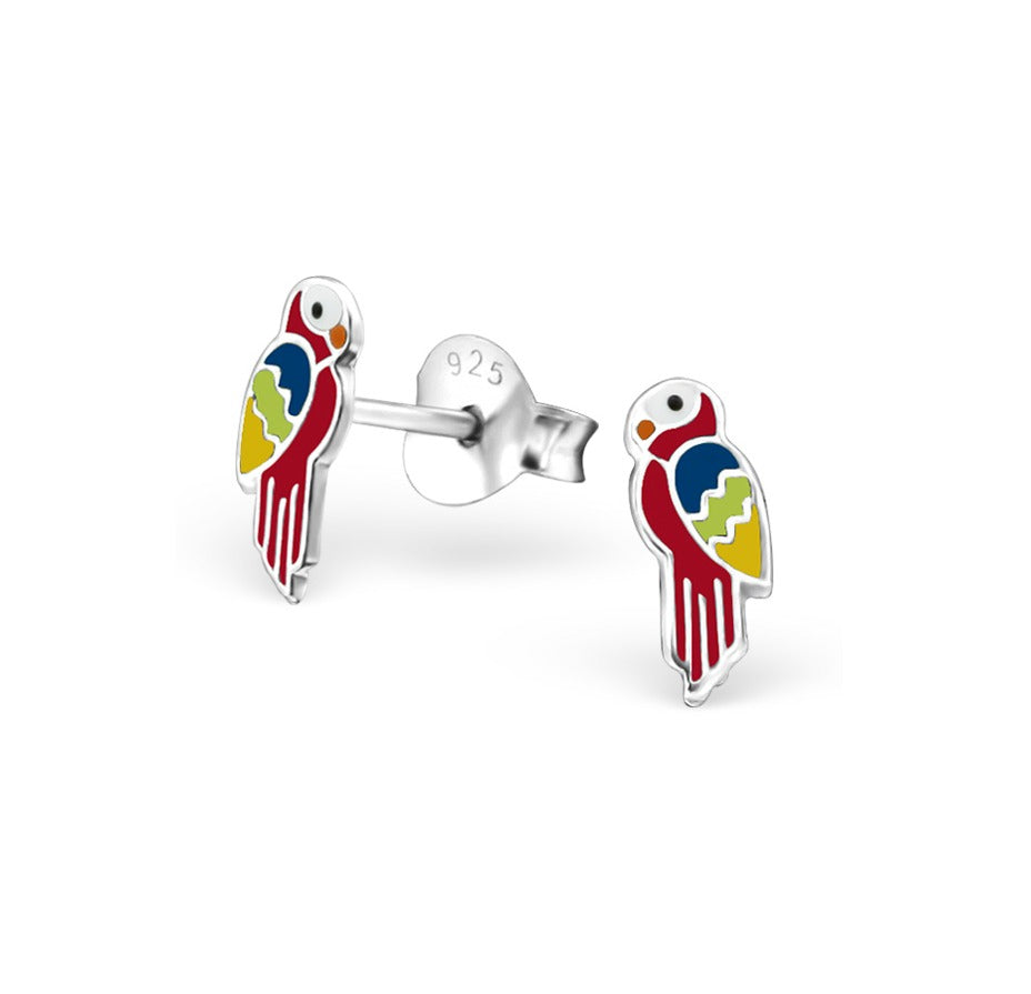 Baby and Children's Earrings:  Sterling Silver Red Parrot Earrings