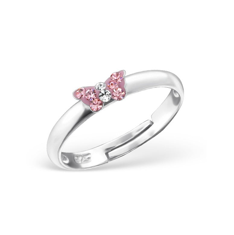 Children's Rings:  Sterling Silver Pink Crystal Butterfly Rings