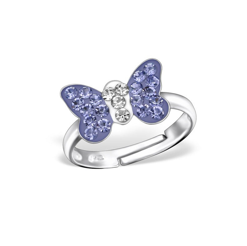 Children's Rings:  Sterling Silver Lavender Crystal Butterfly Rings