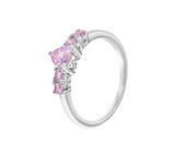 Children's Rings:  Sterling Silver, Pink CZ Heart Rings Size 3 with Gift Box
