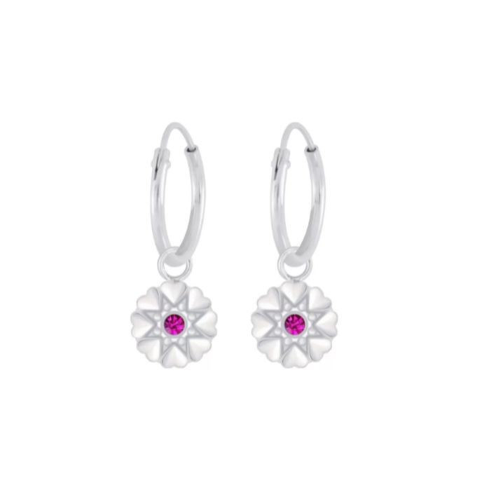 Children's Earrings:  Sterling Silver Sleepers with Silver Flowers - Pink CZ