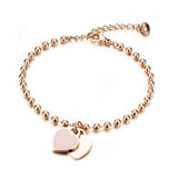 Children's and Teens' Bracelets:  Titanium with IP Rose Gold Ball Bracelets with Heart Charms