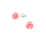 Children's Earrings:  Sterling Silver/Pink Resin Roses