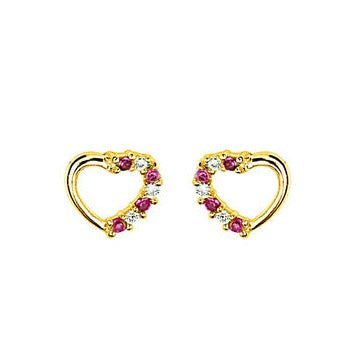 Children's Earrings:  Gold Plated Ruby and White CZ Hearts with Safety Screw Backs