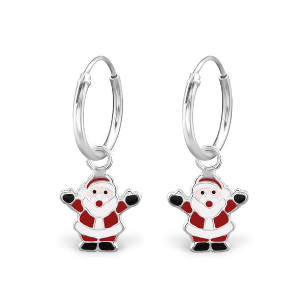 Children's Earrings:  Sterling Silver Sleepers with Santa - Children's Christmas Earrings