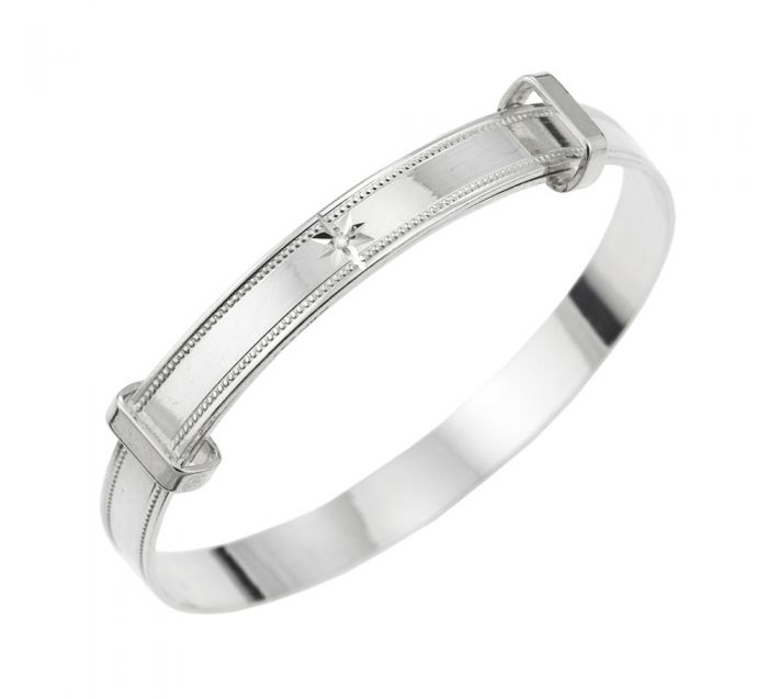 Baby and Children's Bangles:  Sterling Silver Diamond Set Expanding Bangle with Gift Box