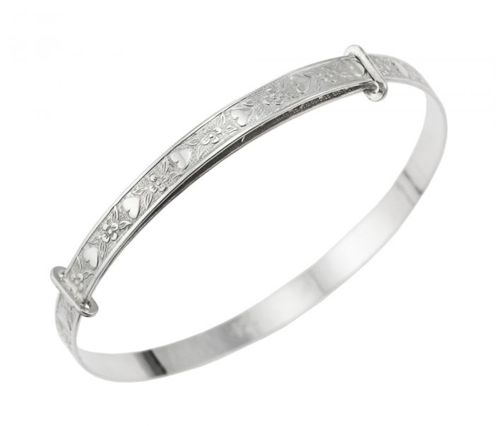 Children's Bangles:  Sterling Silver Exquisitely Embossed Heart and Flowers Adjustable - Age 6+