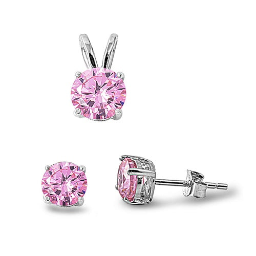Children's Necklace and Earrings Sets:  Sterling Silver, Round, Pink CZ Sets
