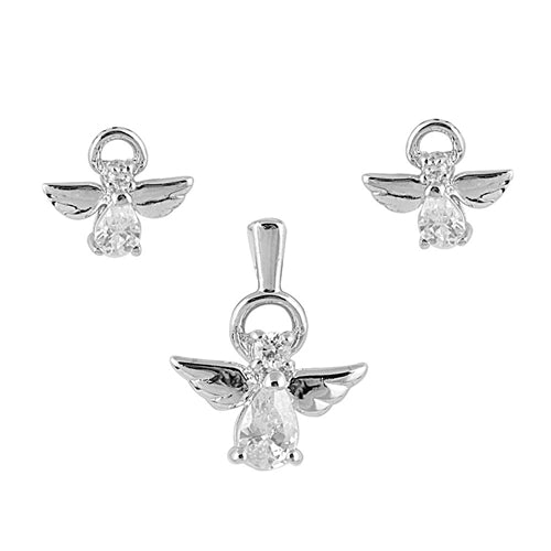 Children's Earrings and Necklace Sets:  Sterling Silver CZ Angel Sets Chain Included