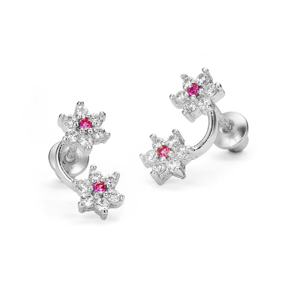 Children's Earrings:  Sterling Silver Dark Pink/Clear CZ Double Flower Earrings with Screw Backs