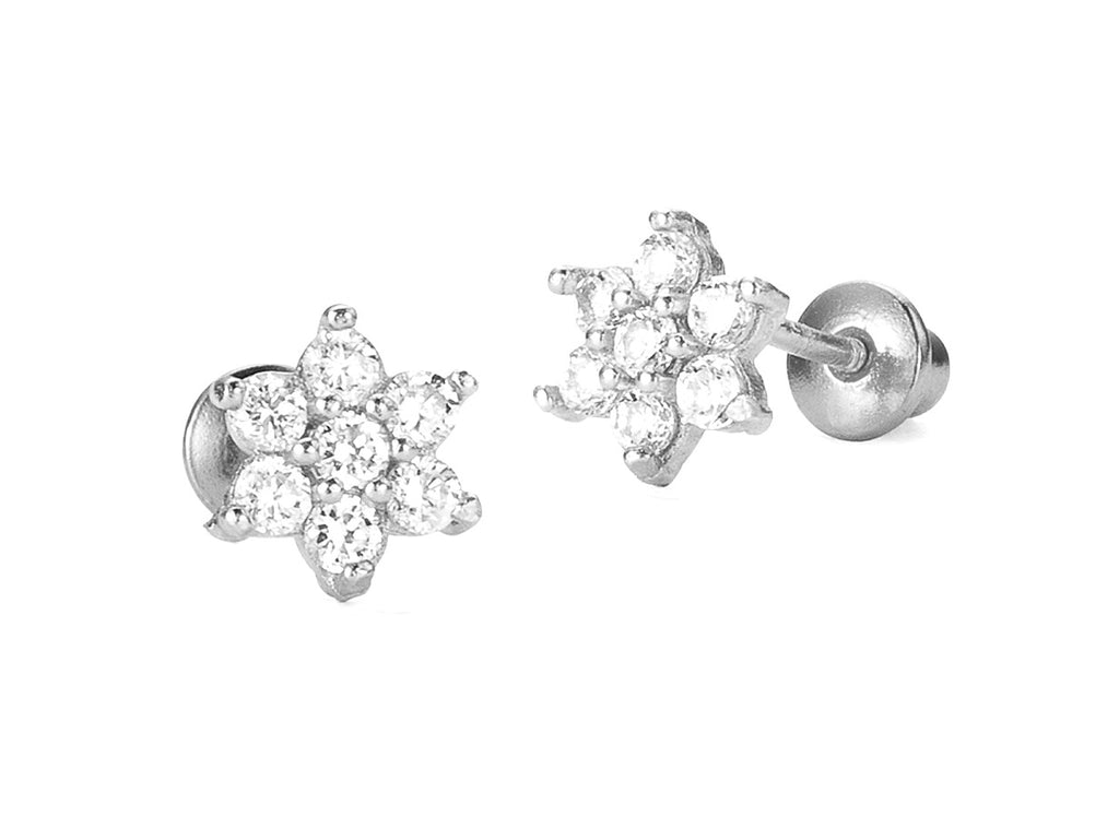 Baby and Children's Earrings:  Sterling Silver White CZ Flowers with Screw Backs