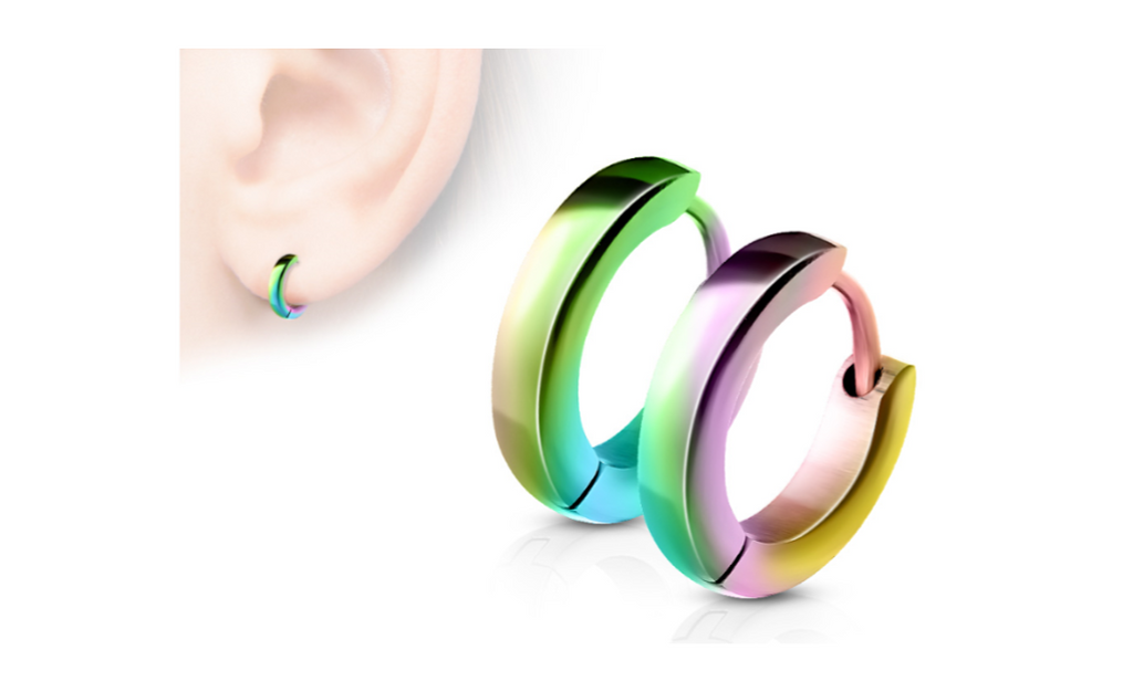 Children's Earrings:  Surgical Steel, Anodised Rainbow Huggie/Hoops 8mm