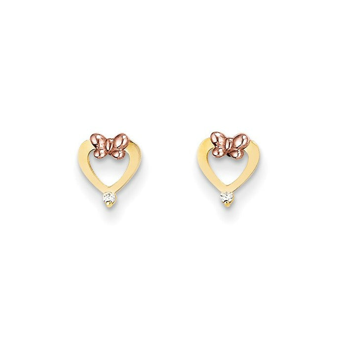 Baby and Children's Earrings:  14K Gold Hearts with 14K Rose Gold Butterflies with CZ and Complimentary Gift Box