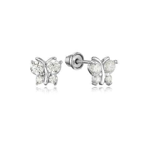 Baby and Children's Earrings:  Sterling Silver Clear CZ Butterflies with Screw Backs