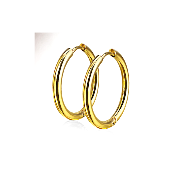 Children's, Teens, Adults' Earrings:  Surgical Steel, Gold IP Hoops - 12mm