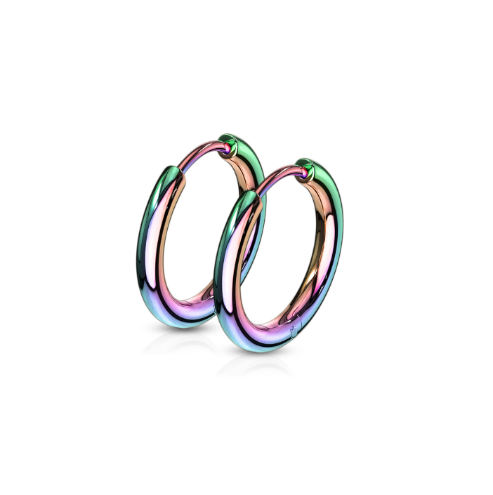 Children's Earrings:  Anodised Surgical Steel Hoops - Rainbow - 10mm