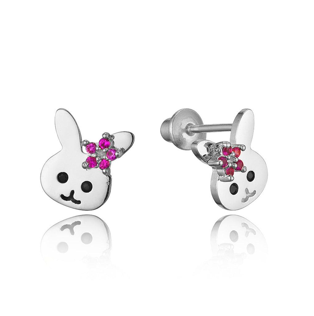 Children's Earrings:  Sterling Silver Rabbit with Ruby Flower Earrings with Screw Backs
