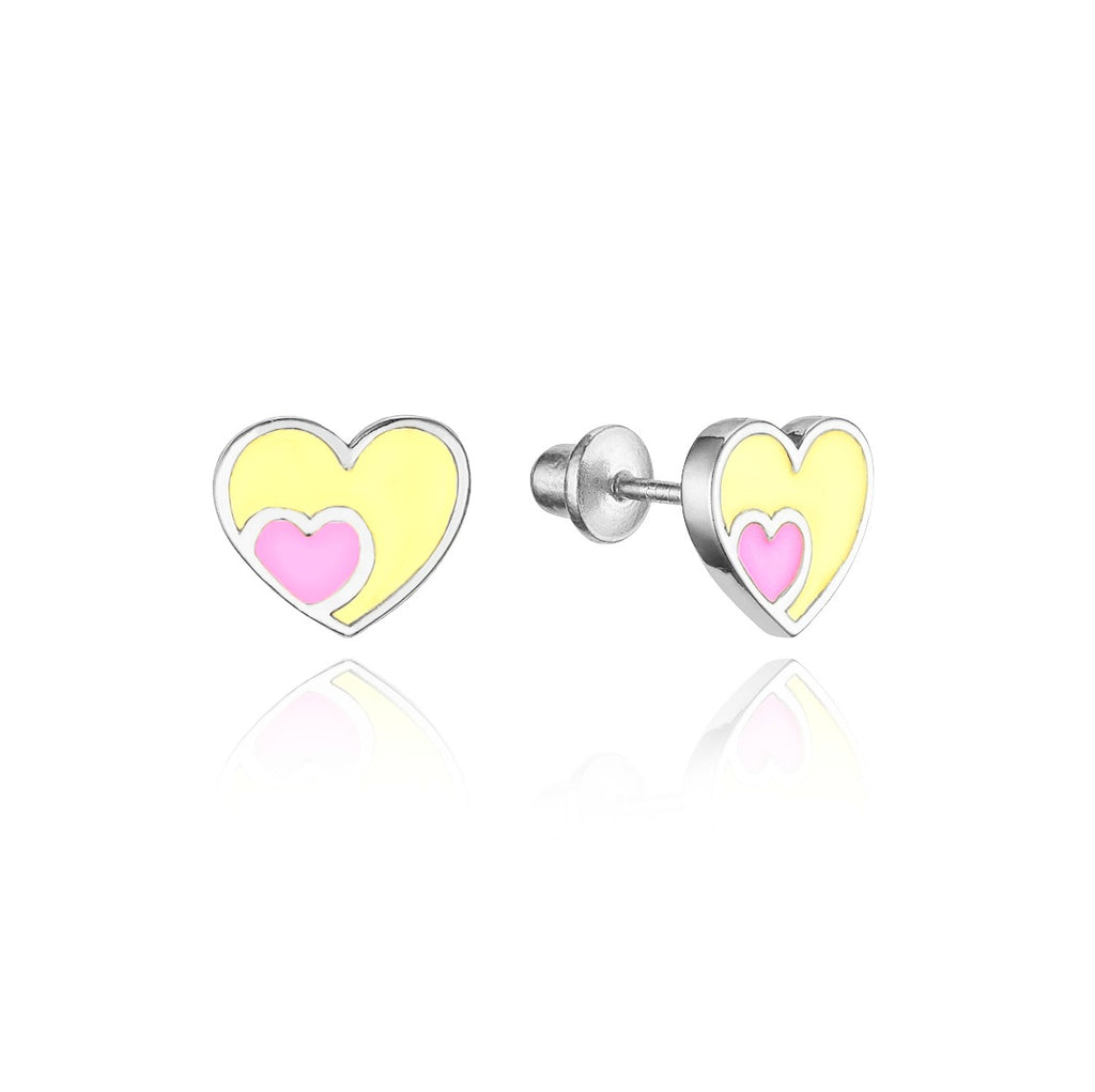 Children's Earrings:  Sterling Silver Pink and Yellow Double Heart Screw Back Earrings