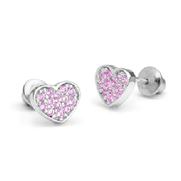 Children's Earrings:  Sterling Silver, Pink CZ Hearts with Screw Backs