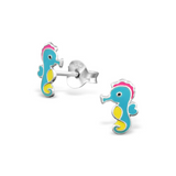 Children's Earrings:  Sterling Silver Seahorses - Aqua