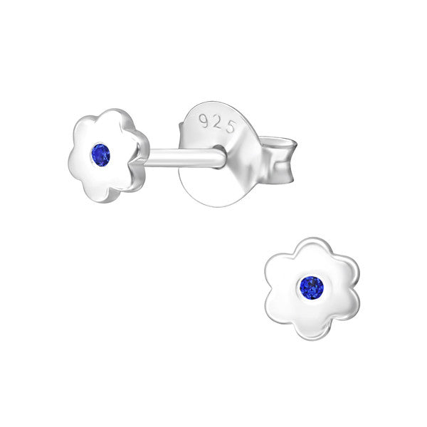 Baby and Children's Earrings:  Sterling Silver Flower Earrings with Central Aquamarine CZ - March Birthstone
