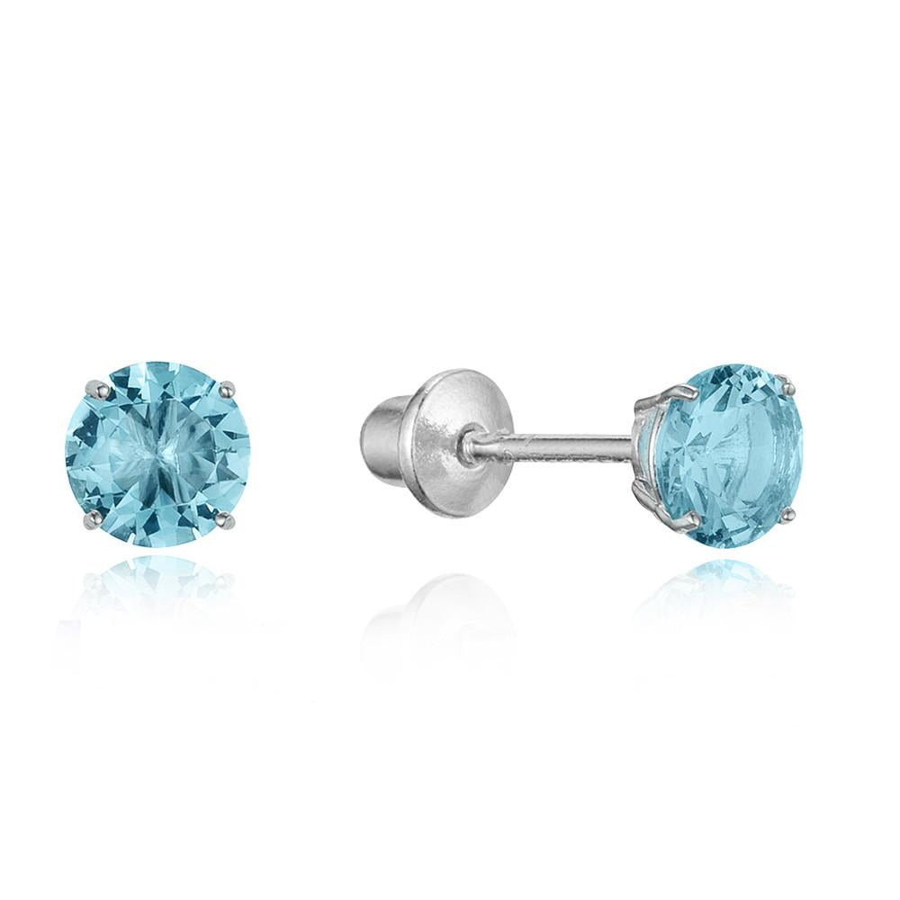 Children's Earrings:  Sterling Silver Blue Topaz CZ Screw Back Earrings - November birthstone